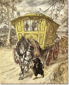 """¤ Arthur Rackham (British,1867–1939), The Wind in the Willows, published in 1940 as WWII began, marked the end of """"the golden age"""" http://www.theweeweb.co.uk/golden_age.php"""
