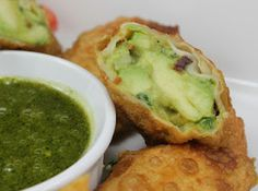 Avocado Egg Rolls with Cilantro Dipping Sauce~pinner said: Had a batch waiting for my boyfriend one night, & they were so good he didn't believe that they were homemade (my first attempt at any type of egg roll). Very gourmet....