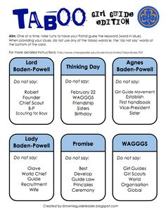Girl Guide Taboo card game. A word game played in Patrols. Created by: www.brownieguideleader.blogspot.com