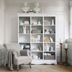 Estudio y librer a de dm y lacada en el color de la pared - Biblioteca madera blanca ...