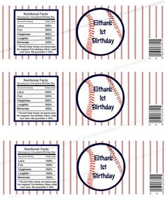 Personalized Baseball Birthday Party Water Bottle by vmiddleton5, $6.50
