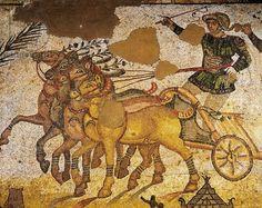 Italy, Sicily Region, Enna province, Piazza Armerina, Villa Romana del Casale, Gymnasium, mosaic with circus scenes, four-horse chariot race, detail (4th century ad)