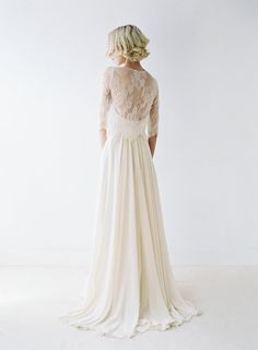 <3 Blush Chiffon Wedding Dress With Removable Lace Shirt by Truvelle