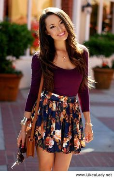 Long sleeve plum colored shirt and floral print skirt