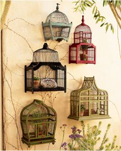 birdcages on a patio wall with plants inside n- ironically i collect these and forgot i have them in storage!  schweet.