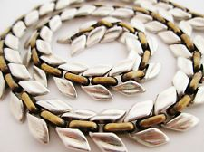 VTG RARE SOLID STERLING SILVER & BRASS DUO CHAIN NECKLACE TAXCO MEXICO MEXICAN