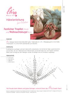 Elisa - Wolle, Garne & Bastelbedarf Crochet Ornaments, Christmas Crochet Patterns, Crochet Snowflakes, Diy Christmas Ornaments, Christmas Time, Christmas Decorations, Holiday, Granny Square, Crochet Ball