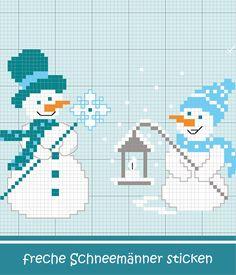 Freche Schneemänner in Blau sticken #Sticken #Kreuzstich / #Winter / #Schneemann; #Embroidery #Crossstitch / #winter / #snwoman / #ZWEIGART