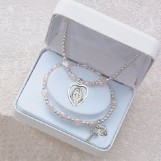 First Communion Necklace and Bracelet Set with Miraculous Medal Charm and Pink Heart Beads