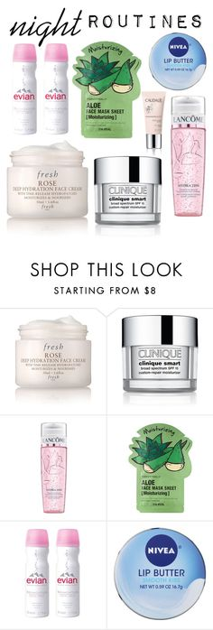 """"" by heyitsmarvs ❤ liked on Polyvore featuring beauty, Fresh, Clinique, Lancôme, Tony Moly, Evian, Nivea, Caudalíe, facemasks and nightroutines"