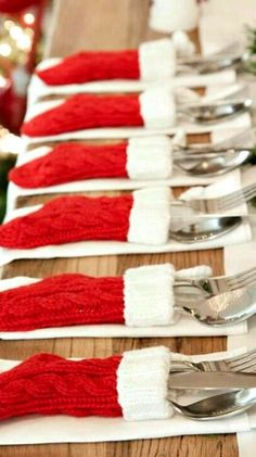 Mini Stockings as Silverware Holders ~ an amazing way to dress up your Christmas table. Too cute! Christmas Wedding, Christmas Decor, Holiday Decorations, Christmas Decorations, Ornament Crafts, Christmas Wedding Decorations, Christmas Tables, Natal