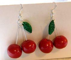 Cherry Polymer Clay Earrings