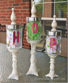 apothecary jars....diy..... on Pinterest | 99 Pins www.pinterest.com236 × 287Search by image Candies Jars, Crafts Ideas, Dollar Stores, Diy Apothecaries, Candles Sticks, Glasses Jars, Apothecaries Candies, Crafts Diy, Apothecaries Jars