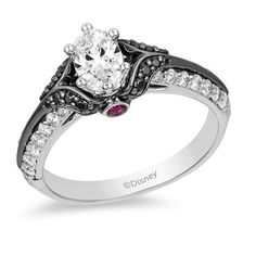 Oval Diamond Engagement Ring in White Gold with Black Rhodium Enchanted Disney Villains Evil Queen 1 CT. Oval Diamond Engagement Ring in White Gold with Black Rhodium Engagement Rings Sale, Cushion Cut Engagement Ring, Princess Cut Engagement Rings, Gemstone Engagement Rings, Halo Engagement, Engagement Ring Settings, Vintage Engagement Rings, Princess Wedding, Wedding Rings Solitaire