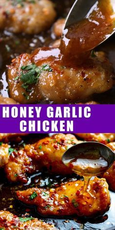 A fantastic 20 minute meal - this honey garlic chicken made with chicken thigh fillets will be devoured by the whole family. Easy Honey Garlic Chicken, Baked Chicken Legs, Paleo Chicken Thighs, Baked Chicken Breast, Glaze For Chicken, Boneless Chicken Thighs Crockpot, Honey Barbeque Chicken, Honey Sauce For Chicken, Recipes With Chicken Thighs