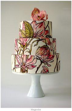 Torta dibujada con flor de azúcar