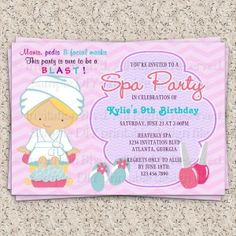 Adorable Pink Purple Spa Pampering Birthday Party Custom Invites today price drop and special promotion. Get The best buyDeals Adorable Pink Purple Spa Pampering Birthday Party Custom Invites Online Secure Check out Quick and Easy. Kids Spa Party, Spa Birthday Parties, Pamper Party, Pink Birthday, 7th Birthday, Birthday Ideas, Paris Birthday, Theme Parties, Spa Party Invitations