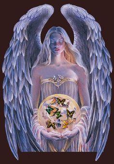 "EDWARD TADIELLO  22/"" X 28/"" LOVE/'S EMBRACE ANGEL LITHOGRAPH Religious Inspiration"