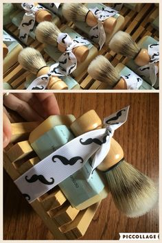 Could these shaving sets be any cuter? Each one comes with a bar of handmade shaving soap, a shaving brush and a wooden soap dish. Now part of our groomsmen gift boxes. groomsman gift. Best man gift. www.openuphappiness.com