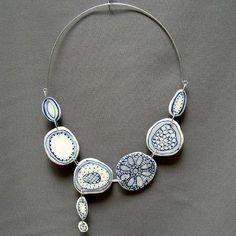 Crochet sand dollar porcelain necklace