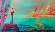 Nanna Susi - Vihreä vesi/Green Water, öljy kankaalle/oil on canvas, cm Contemporary Paintings, Diversity, Painters, Finland, Modern Art, Rainbow, Inspire, Oil, Orange