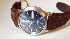 Seiko Men's SNK793 Seiko 5 Automatic Blue Dial, Leather Strap