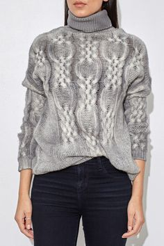 Light Grey Cable Knit Turtleneck