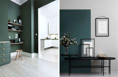 De grønne farver i indretningen er ikke lige frem en helt ny trend.Jeg begyndte allerede at snakke om de mørke farver i indretningen i starten af året, og siden hen har jeg lagt mærke til at farver, specielt mørkere farver, er væltet frem i indretningen. Det startede meget med de mørke blå....
