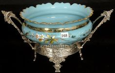 BLUE BRISTOL ART GLASS BOWL WITH ENAMEL BIRD AND FLORAL DECOR - GOLD STENCIL HIGHLIGHTS - SET ON FANCY TWO HANDLE ROGERS SILVER PLATE FRAME