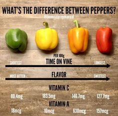Do you know the difference between the color of bell peppers? They actually all … - Health & Nutrition Facts Healthy Snacks, Healthy Eating, Healthy Recipes, Keto Recipes, Cooking 101, Cooking Recipes, Cooking Hacks, Cooking For Beginners, Do It Yourself Food