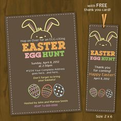 Easter Egg Hunt Invitation - Printable Easter Invitation - Easter Party Invitation - with FREE thank you card. $10.00, via Etsy.