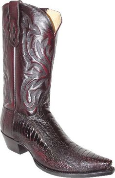 Star Boots Mens Ostrich Leg Cowboy Boots - Black Cherry S. Custom Cowboy Boots, Western Boots For Men, Cowboy Shoes, Cowboy Boots Women, Leather Men, Leather Boots, Ostrich Legs, Star Boots, Cool Boots