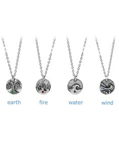 ELEMENTS NECKLACE; earth, air, fire, water $40