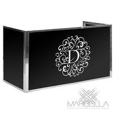 Marbella Event Furniture and Decor Rental - Event Branding -Wedding Monogram Decal - Printed DJ Booth Surround