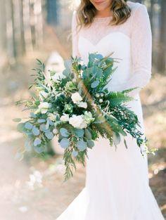 Greenery wedding bouquet: Floral Design: Floral Wonders - http://www.stylemepretty.com/portfolio/evas-floral-wonders Wedding Dress: Anna Campbell - http://www.stylemepretty.com/portfolio/anna-campbell Photography: Kristin La Voie Photography - www.kristinlavoie.com   Read More on SMP: http://www.stylemepretty.com/2017/02/02/dreamy-forest-anniversary-shoot/