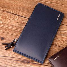 2017 Leather Men Wallet Clutch Double Zipper Credit Card Bifold Wallets Coin Purse Business Card Holder carteira masculina J423