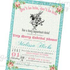 Mad hatter tea party bridal shower invitation printable pdf bridal shower invitation mad hatter tea party invitation any occasion teal and coral filmwisefo Images