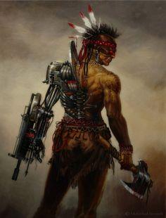 realistic Apache cyberpunk warrior