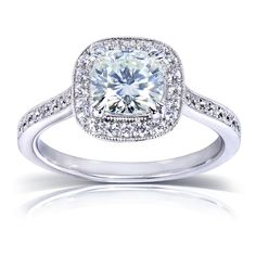 $807 - Annello 14k White Gold Prong-set Moissanite and 1/4ct TDW Diamond Miligrain Engagement Ring (G-H, I1-I2) - Overstock™ Shopping