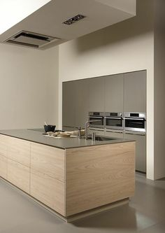 bar de cuisine en bois clair , comment avoir une cuisine avec ilot central pas cher