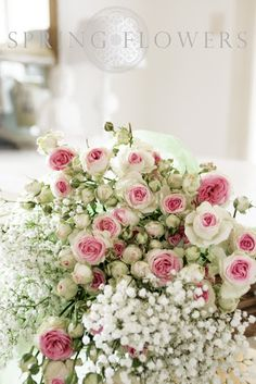 There is just something wonderfully nostalgic and sweet about babies breath mixed with pink roses!