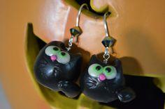 Black Cat Polymer Clay Earrings by JerilynSw on Etsy, $14.00
