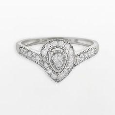 10k White Gold .25-ct. T.W. Diamond Teardrop Ring