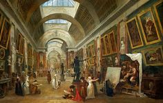 View of the Grande Gallery of the Louvre ~ Hubert Robert, 1796