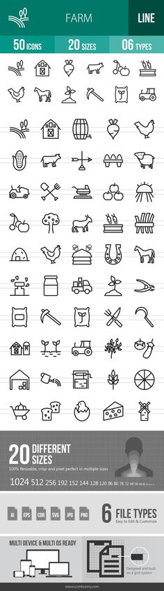 50 Farm Line Icons - Farm Logo - could use similar symbols for each branch of the farm Doodle Icon, Doodle Art, Web Design, Icon Design, Graphic Design, Design Ideas, Sketch Note, Farm Logo, Face Lines