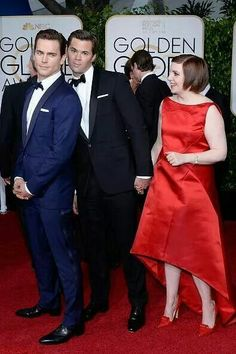 """"""" Lena Dunham, Andrew Rannells, and Matt Bomer were just adorableWe're not entirely sure what caused this picture-perfect red carpet moment to happen, but we couldn't be more pleased that it did. Normal Heart, The New Normal, Andrew Rannells, Emily Vancamp, Legally Blonde, Daniel Gillies, Dear Evan Hansen, Zooey Deschanel, Evan Peters"""