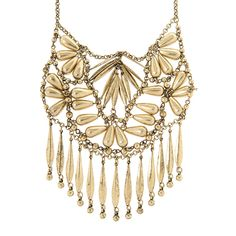 Sierra Antique Gold Teardrop Beads and Flat Marquis Fringe Statement Necklace | Icing