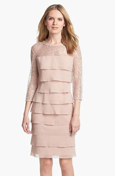 Alex Evenings Embellished Yoke Tiered Dress (Petite) available at #Nordstrom