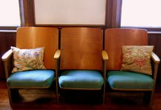 Reserved for charnibp  Vintage Theater Chairs - Set of Three. $300.00, via Etsy.