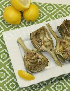 I can't believe how good these were!  Grilled Artichokes with Lemon and Garlic Low Calorie, Low Fat Healthy Vegetable